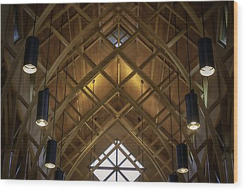 Arched Trusses - University Of Florida Chapel On Lake Alice Wood Print by Lynn Palmer