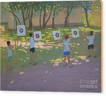 Archery Practice  France Wood Print by Andrew Macara