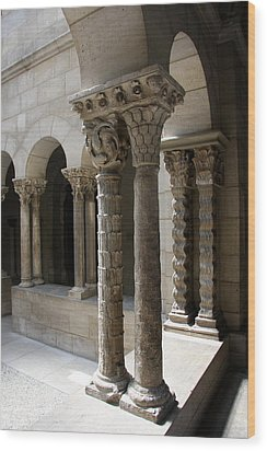 Arches And Columns - Cloister Nyc Wood Print by Christiane Schulze Art And Photography