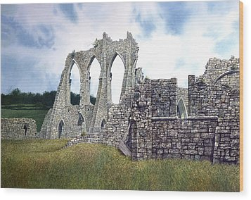 Wood Print featuring the painting Arches Of Bayham Abbey by Tom Wooldridge