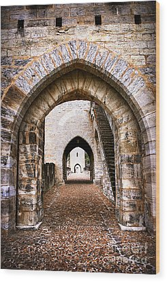 Arches Of Valentre Bridge In Cahors France Wood Print by Elena Elisseeva