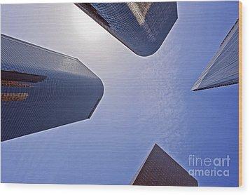 Architectural Bunker Hill Financial District Wood Print by David Zanzinger