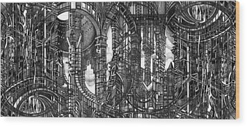 Architectural Utopia 4 Fragment Wood Print by Serge Yudin