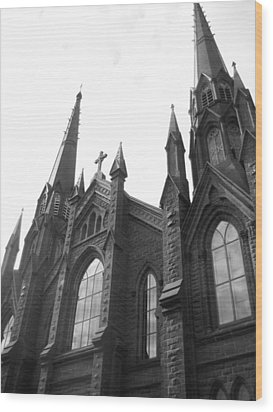 architecture churches . Gothic Spires in Black and White  Wood Print by Ann Powell