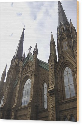 architecture churches Gothic Spires Wood Print by Ann Powell