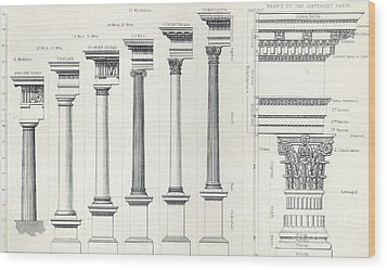 Architecture I Orders Of Architecture Engraved By Charles Lawrie Wood Print by  John Burley Waring