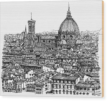 Architecture Of Florence Skyline In Ink  Wood Print by Adendorff Design