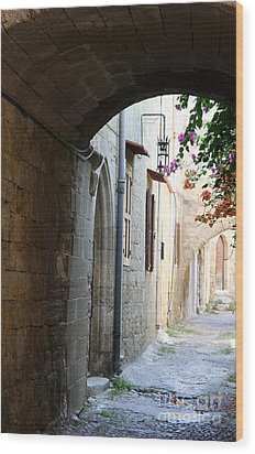 Archway Rhodos City Wood Print by Christiane Schulze Art And Photography