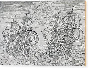 Arctic Phenomena From Gerrit De Veer S Description Of His Voyages Amsterdam 1600 Wood Print by Netherlandish School