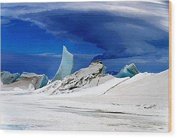 Arctic Pressure Ridge Wood Print by David Blank