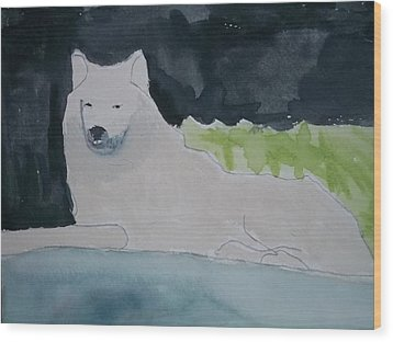Arctic Wolf Watercolor On Paper Wood Print by William Sahir House