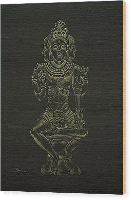 Wood Print featuring the drawing Ardhanarishvara I by Michele Myers