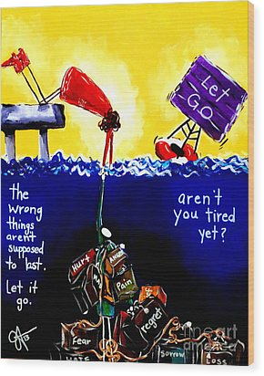 Wood Print featuring the painting Aren't You Tired Yet? by Jackie Carpenter