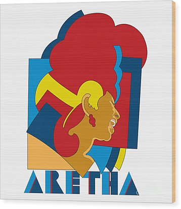 Aretha Franklin No.05 Wood Print by Caio Caldas