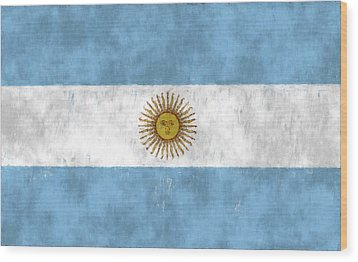 Argentina Flag Wood Print by World Art Prints And Designs