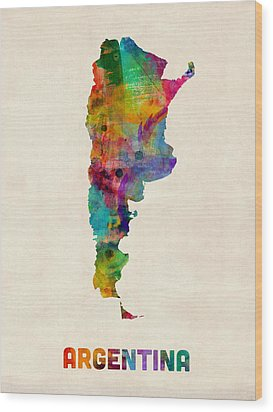 Argentina Watercolor Map Wood Print by Michael Tompsett
