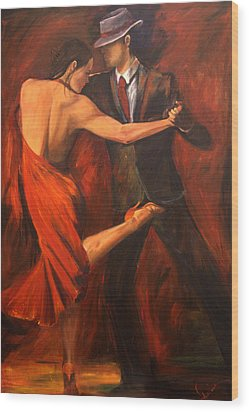Wood Print featuring the painting Argentine Tango by Sheri  Chakamian