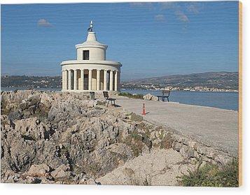 Argostolion Greece Lighthouse Wood Print