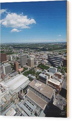 Arial View Of Calgary Facing North East Wood Print by Lisa Knechtel