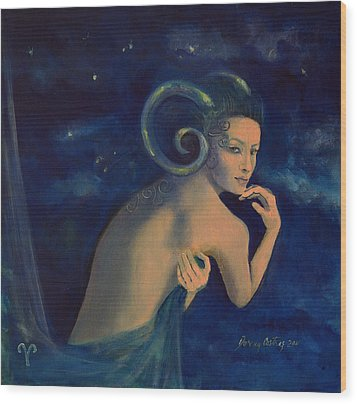 Aries From Zodiac Series Wood Print by Dorina  Costras