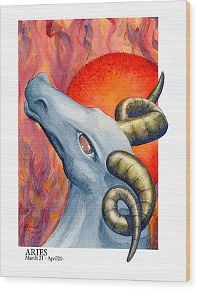 Aries Wood Print by Michael Baum