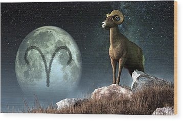 Aries Zodiac Symbol Wood Print by Daniel Eskridge