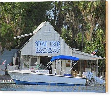 Aripeka Stone Crab Sales I Wood Print by Buzz  Coe