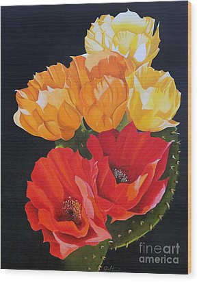 Wood Print featuring the painting Arizona Blossoms - Prickly Pear by Debbie Hart