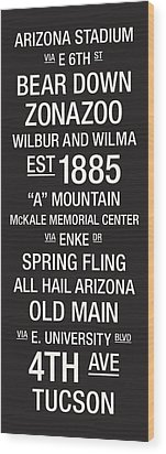 Arizona College Town Wall Art Wood Print by Replay Photos