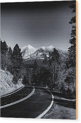 Arizona Country Road In Black And White Wood Print