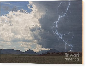 Arizona Desert Lightning  Wood Print