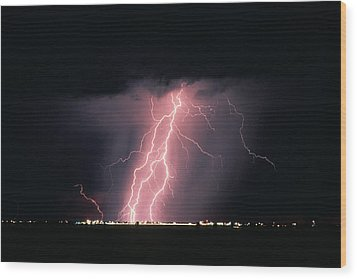Arizona  Lightning Over City Lights Wood Print by Anonymous