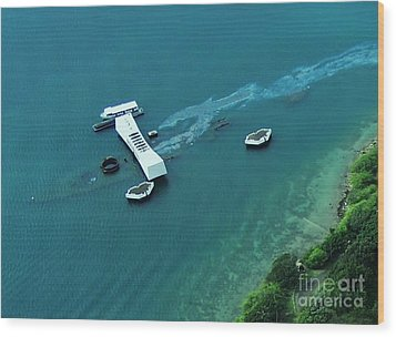 Wood Print featuring the photograph Arizona Memorial From Above by Brigitte Emme