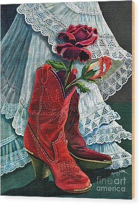 Arizona Rose Wood Print by Marilyn Smith
