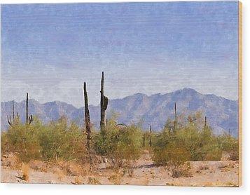 Arizona Sonoran Desert Wood Print by Betty LaRue