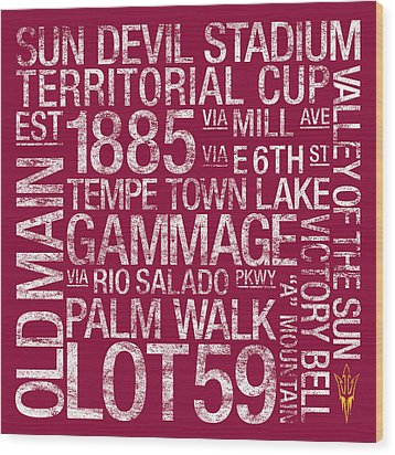 Arizona State College Colors Subway Art Wood Print by Replay Photos