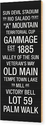 Arizona State College Town Wall Art Wood Print by Replay Photos