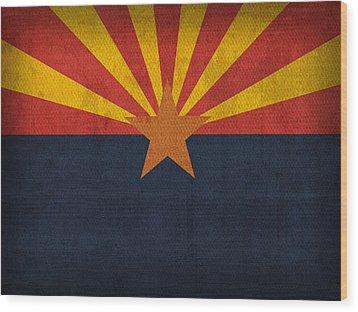 Arizona State Flag Art On Worn Canvas Wood Print by Design Turnpike