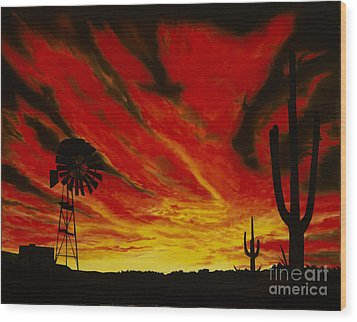 Wood Print featuring the painting Arizona Sunset by Stuart Engel