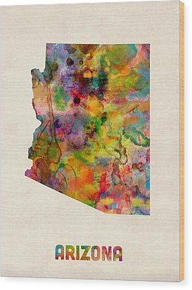 Arizona Watercolor Map Wood Print by Michael Tompsett