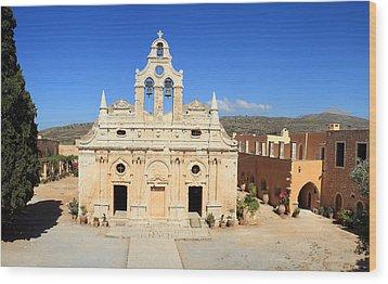 Arkadi Monastery In Crete Wood Print by Paul Cowan