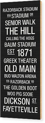 Arkansas College Town Wall Art Wood Print by Replay Photos
