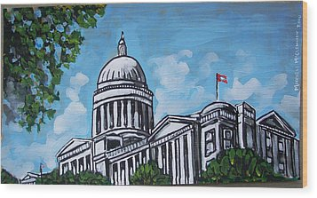Arkansas State Capitol Wood Print by Mitchell McClenney