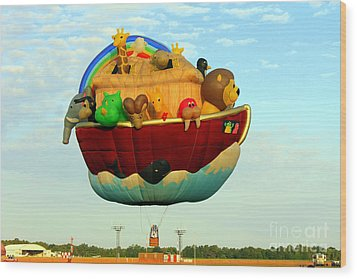 Arky Hot Air Balloon Wood Print by Kathy  White