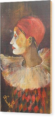 Arlequin In A Red Hat Wood Print by Alicja Coe
