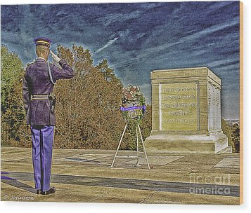 Arlington Cemetery Tomb Of The Unknowns Wood Print by Bob and Nadine Johnston
