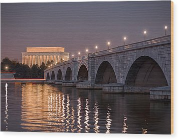 Arlington Memorial Bridge Wood Print by Eduard Moldoveanu