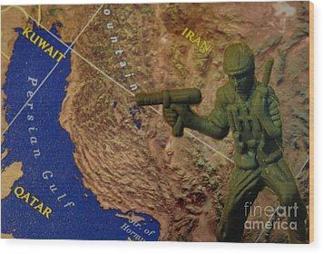 Armed Toy Solider With Middle East Map Wood Print by Amy Cicconi