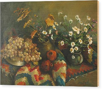 Wood Print featuring the painting Armenian Still-life by Tigran Ghulyan