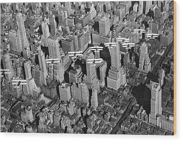 Army Air Corp Over Manhattan Wood Print by Underwood Archives
